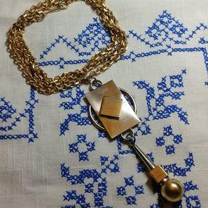 70s Mod gold & silver pendant necklace